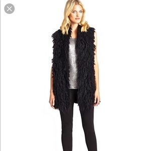 BCBG MaxAzria black shaggy furry long Cardigan